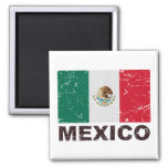 Mexico Vintage Flag 2 Inch Square Magnet