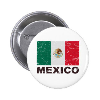 Mexico Vintage Flag Pinback Buttons