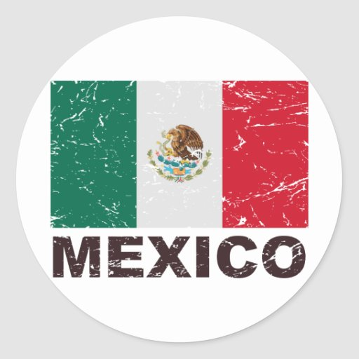Mexico Vintage Flag Classic Round Sticker