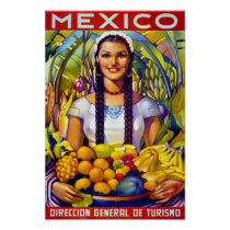 Mexico Vintage Travel Poster Restored