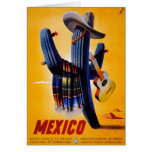 Mexico Vintage Travel Poster Restored Card
