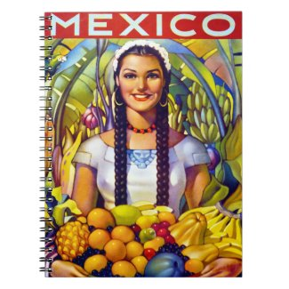 Mexico Vintage Travel Poster Restored Notebook