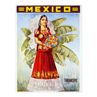 Mexico Vintage Travel Poster Restored Postcard