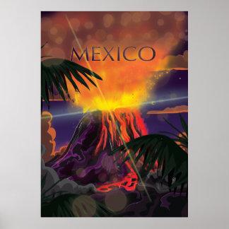 Mexico Volcano Travel Poster