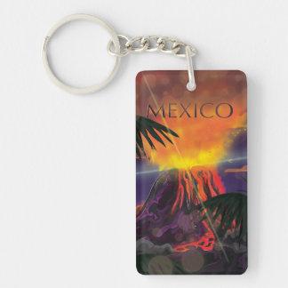 Mexico Volcano Travel Poster Double-Sided Rectangular Acrylic Keychain