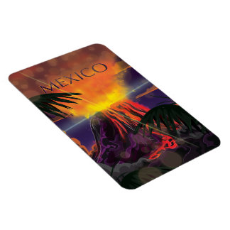 Mexico Volcano Travel Poster Magnet