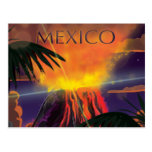 Mexico Volcano Travel Poster Postcard