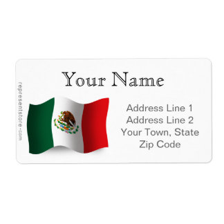 Mexico Waving Flag Label