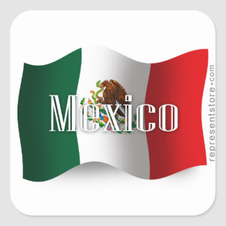 Mexico Waving Flag Square Sticker