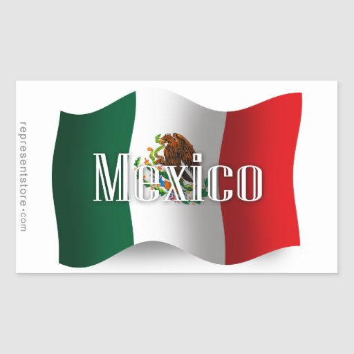 Mexico Waving Flag Rectangle Stickers