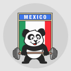 Round Sticker with Mexican Weightlifting Panda design