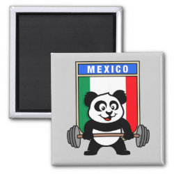 Square Magnet with Mexican Weightlifting Panda design