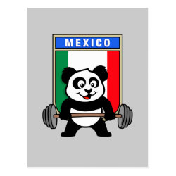 Postcard with Mexican Weightlifting Panda design