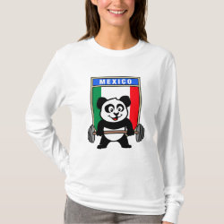 Women's Basic Long Sleeve T-Shirt with Mexican Weightlifting Panda design