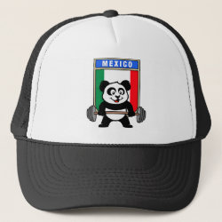 Trucker Hat with Mexican Weightlifting Panda design