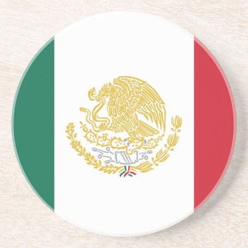 Mexico With Golden And Silver Arms, Mexico Drink Coasters