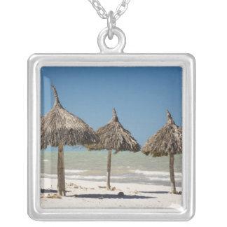 Mexico, Yucatan Peninsula, Progreso. Thatch Square Pendant Necklace