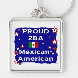 Mexicoamericanos orgulloso 2BA Llavero Cuadrado Plateado