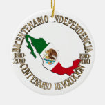 Mexico's Bicentennial & Centennial Celebration Double-Sided Ceramic Round Christmas Ornament