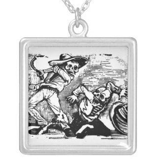 """Mexico's """"Day of the Dead."""" circa 1894. Square Pendant Necklace"""