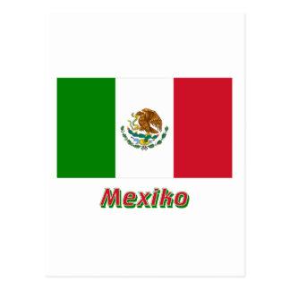 Mexiko Flagge mit Namen Postcard