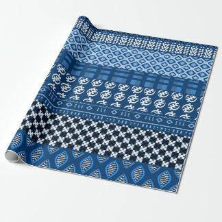 Mezcla africana azul del modelo papel de regalo