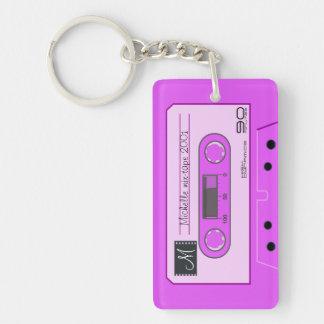 Mezcla-cinta retra rosada personalizada del casete llavero