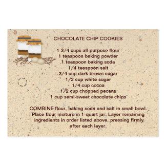Mezcla de la galleta en una etiqueta de la receta tarjetas de visita grandes