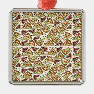 Mezcla de la pizza adorno cuadrado plateado
