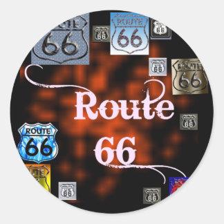 Mezcla de la ruta 66 pegatina redonda