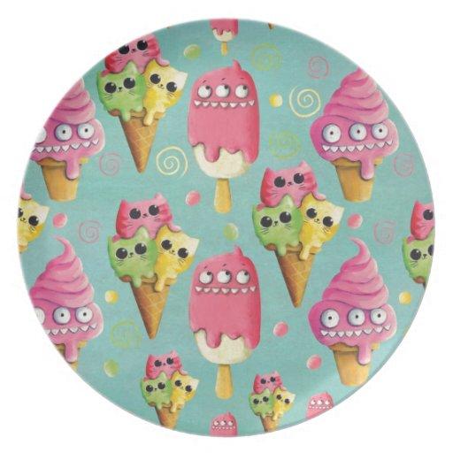 Mezcla del helado del verano plato