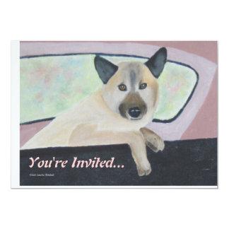 - Mezcla del pastor - retrato Loopy del perro Invitación 12,7 X 17,8 Cm