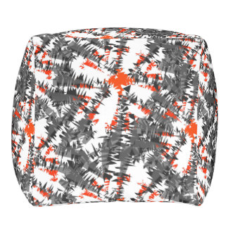 Mezcla gris anaranjada abstracta elegante moderna pouf cuadrado
