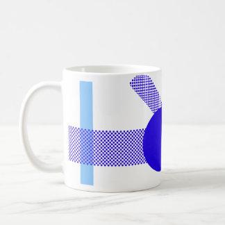 Mezcla y partido azules taza básica blanca