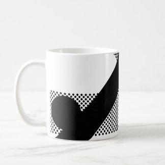 mezcla y partido del punto negro taza básica blanca