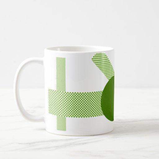 Mezcla y partido del verde verde oliva taza básica blanca