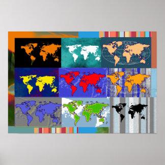 mezclado-mundo colorido. mapas del mundo póster