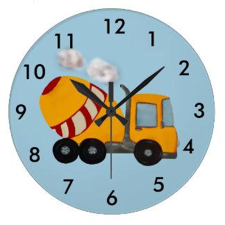 Mezclador concreto amarillo y rojo de encargo reloj redondo grande
