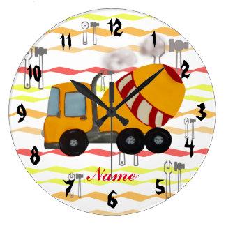 Mezclador concreto amarillo y rojo reloj redondo grande
