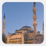 Mezquita azul, área de Sultanhamet, Estambul, Turq Pegatinas Cuadradas Personalizadas