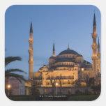 Mezquita azul, área de Sultanhamet, Estambul, Turq Calcomanías Cuadradass Personalizadas