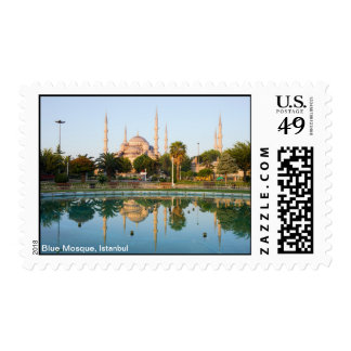 Mezquita azul en el amanecer timbres postales