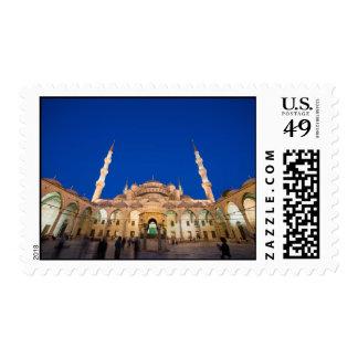 Mezquita azul en la noche timbres postales