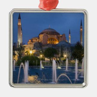 Mezquita azul, Estambul, Turquía Adorno Cuadrado Plateado