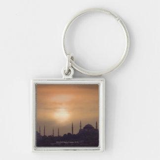 Mezquita azul y Hagia Sophia Turquía, Estambul Llavero Cuadrado Plateado