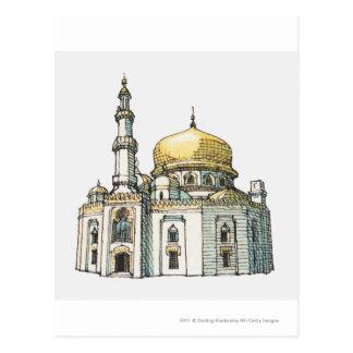 Mezquita con la bóveda y el alminar de la cebolla tarjetas postales