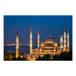 Mezquita de Ahmed del sultán durante el poster cre