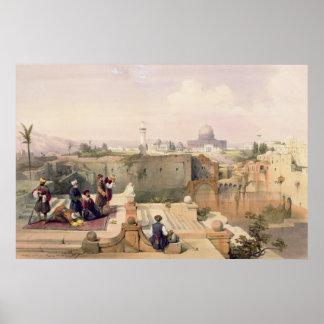Mezquita de Omar que muestra el sitio del templo Póster
