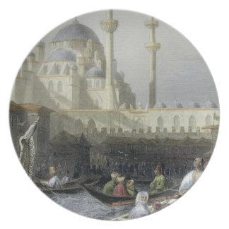 Mezquita de Sultana Valide del puerto, b grabado Plato De Cena