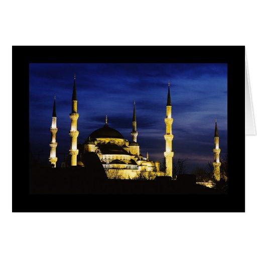 Mezquita de Yeni Valide en la noche Felicitación